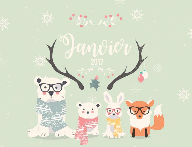 Calendrier de Janvier 2017 graphic