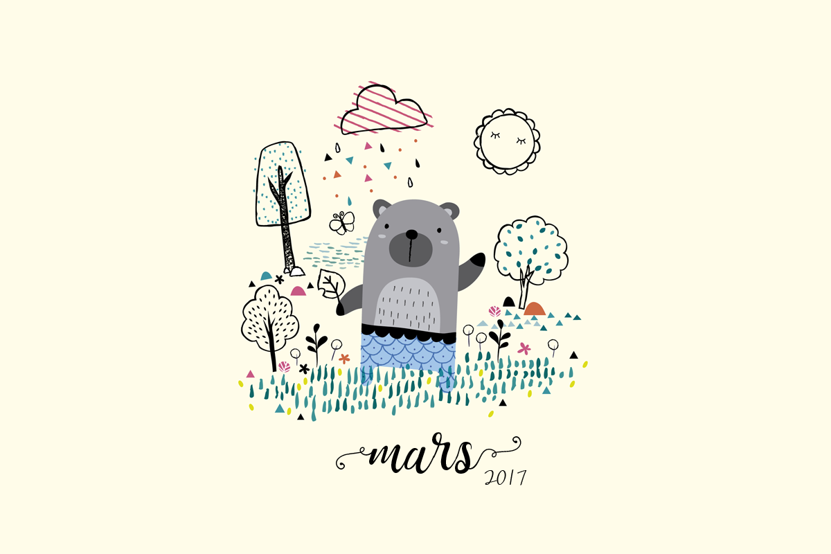 Calendrier de Mars 2017 à imprimer (+ fonds d'écrans)