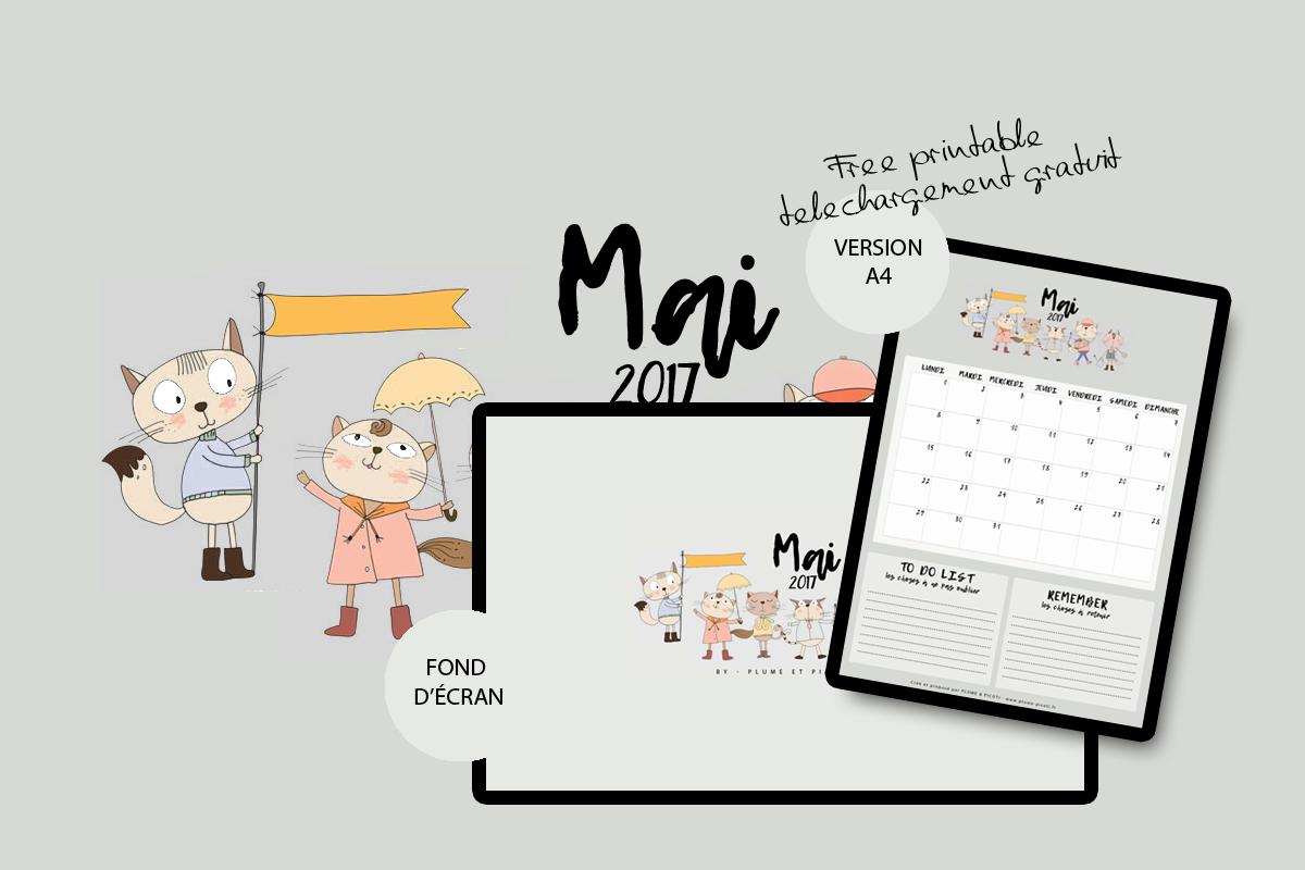 Calendrier de Mai 2017 à imprimer