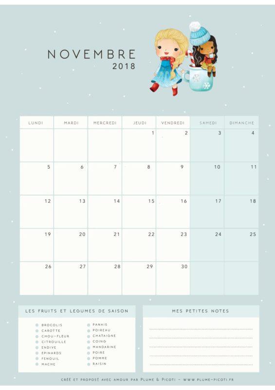 Calendrier de Novembre 2018