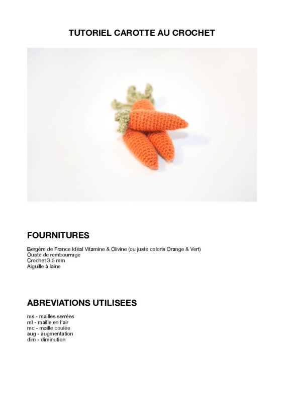 Tutoriel PDF de la petite carotte au crochet