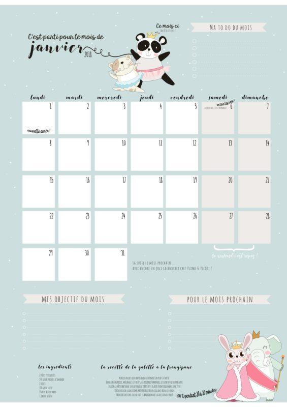 Téléchargez au format PDF le calendrier de Janvier 2018