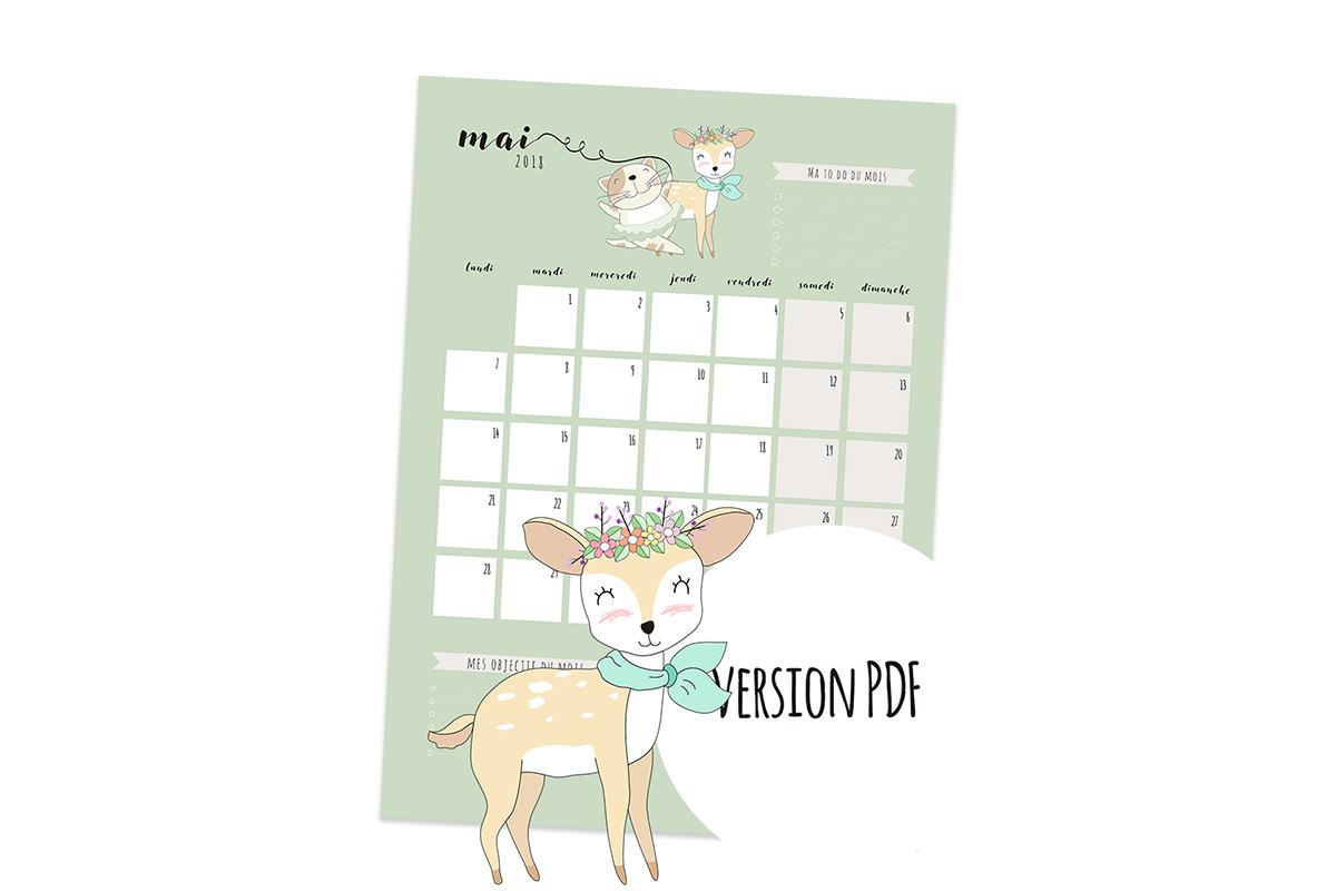 Calendrier de Mai 2018 à imprimer