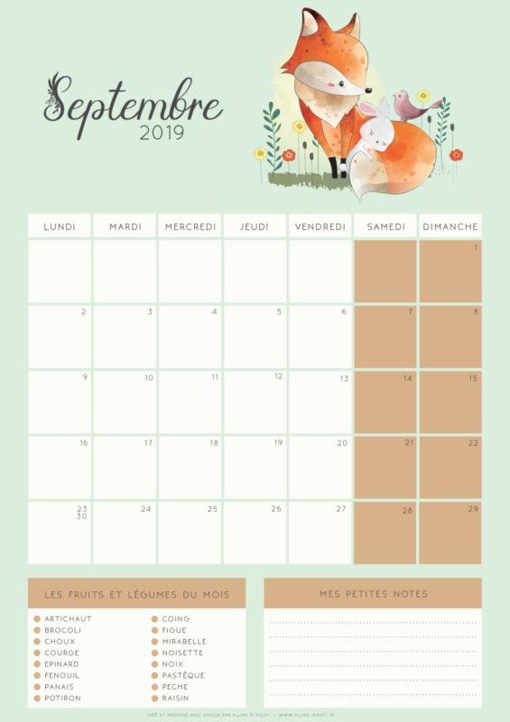 Calendrier Mois De Septembre.Calendrier De Septembre 2019 A Imprimer Plume Picoti