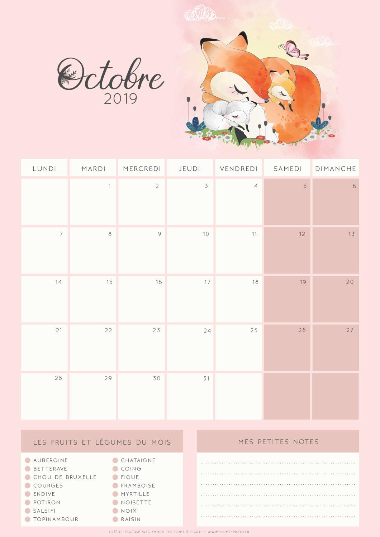 Calendrier Imprimer 2019.Calendrier D Octobre 2019 A Imprimer Plume Picoti