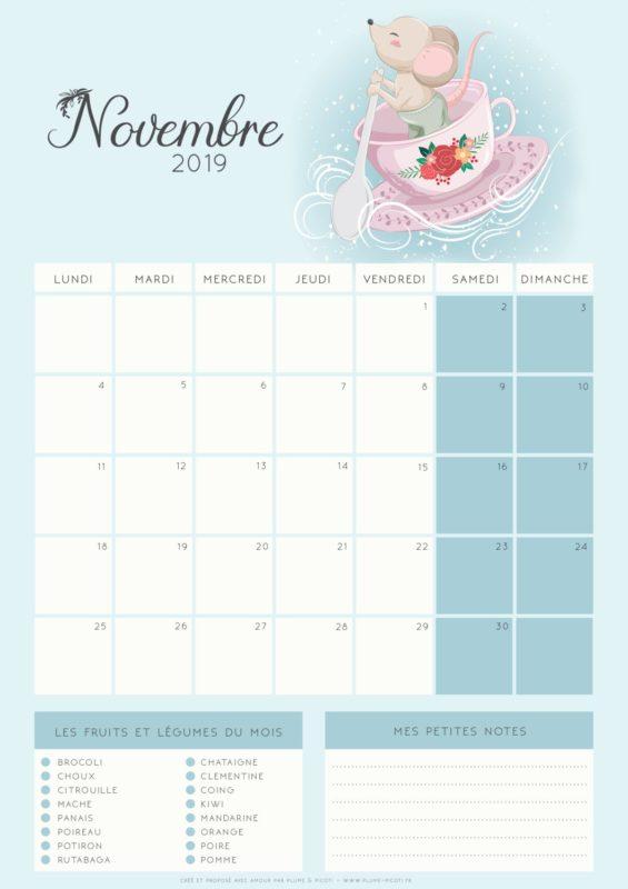 Calendrier de Novembre 2019